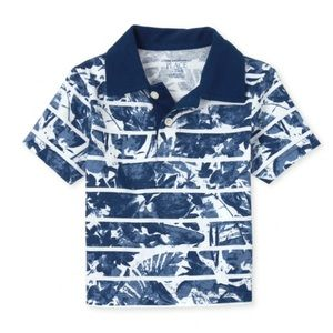 NWT PLACE Blue Print Jersey Polo Shirt 4T
